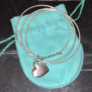 Tiffany & Co. Triple Bangle Heart Charm Bracelet